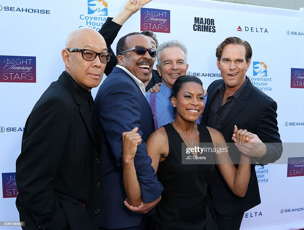 Michael Paul Chan, Robert Gossett, Tony Denison, Kearran Giovanni, Jon Tenney and Phillip Keene attend Covenant House Of California's Annual Fundraising Gala, A Night Honoring Our Stars at The Globe Theatre at Universal Studios on April 30, 2016 in Universal City, California.