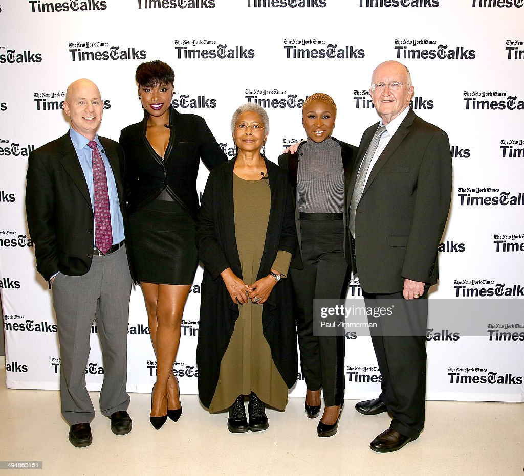 Michael Paulson, Jennifer Hudson, Alice Walker, Cynthia Erivo and John Doyle attend 'The Color Purple' TimesTalks: Jennifer Hudson, Cynthia Erivo, Alice Walker, John Doyle at The New School on October 29, 2015 in New York City.