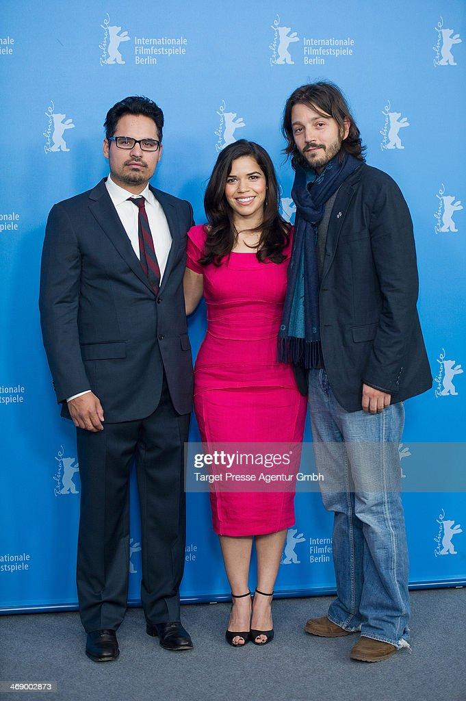 Michael Pena, <a gi-track='captionPersonalityLinkClicked' href=/galleries/search?phrase=America+Ferrera&family=editorial&specificpeople=216393 ng-click='$event.stopPropagation()'>America Ferrera</a> and <a gi-track='captionPersonalityLinkClicked' href=/galleries/search?phrase=Diego+Luna&family=editorial&specificpeople=213511 ng-click='$event.stopPropagation()'>Diego Luna</a> attend the 'Cesar Chavez' photocall during 64th Berlinale International Film Festival at Grand Hyatt Hotel on February 12, 2014 in Berlin, Germany.