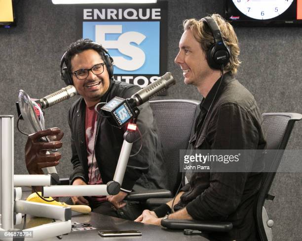 Michael Pena and Dax Shepard are seen at the Enrique Santos Show At Tu949 to promote the movie 'CHIPS' on March 1 2017 in Miami Florida