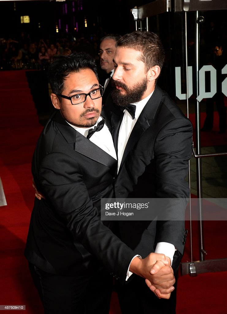 Michael Pena and Shia LeBeouf attend the closing night European Premiere gala red carpet arrivals for 'Fury' during the 58th BFI London Film Festival...
