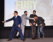 Michael Pena Shia LaBeouf Jon Bernthal and Brad Pitt attend the 'Fury' New York premiere at DGA Theater on October 14 2014 in New York City
