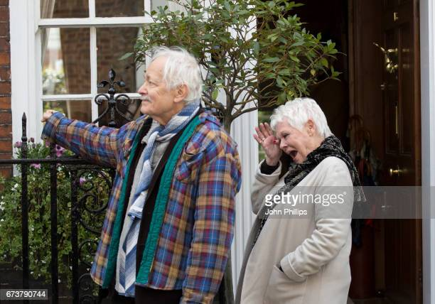 Michael Pennington and Dame Judi Dench during the unveiling of a new plaque commemorating her friend and fellow actor Sir John Gielgud on Cowley...