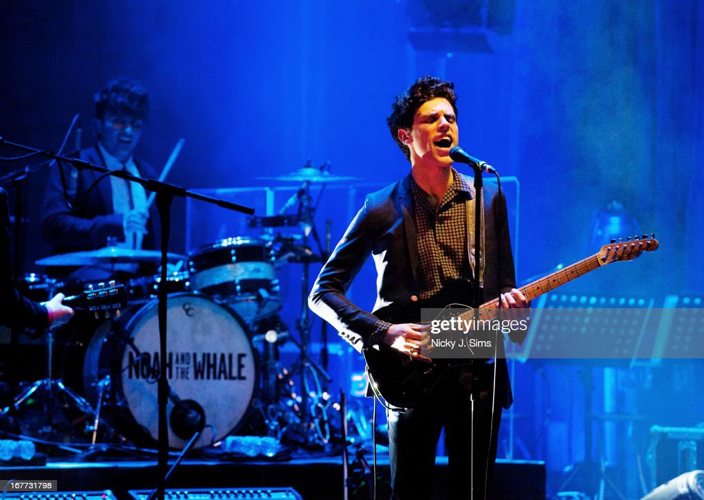 Michael Petulla and Charlie Fink of Noah and The Whale perform on stage at Palace Theatre on April 28 2013 in London England