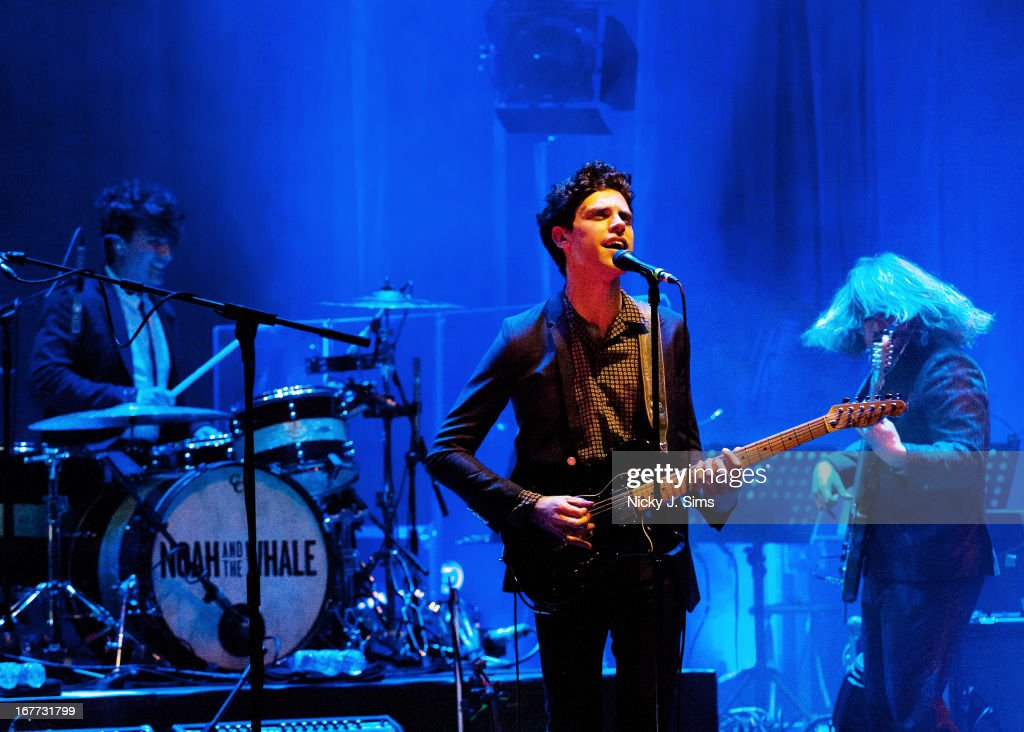 Michael Petulla Charlie Fink and Matt Owens of Noah and The Whale perform on stage at Palace Theatre on April 28 2013 in London England