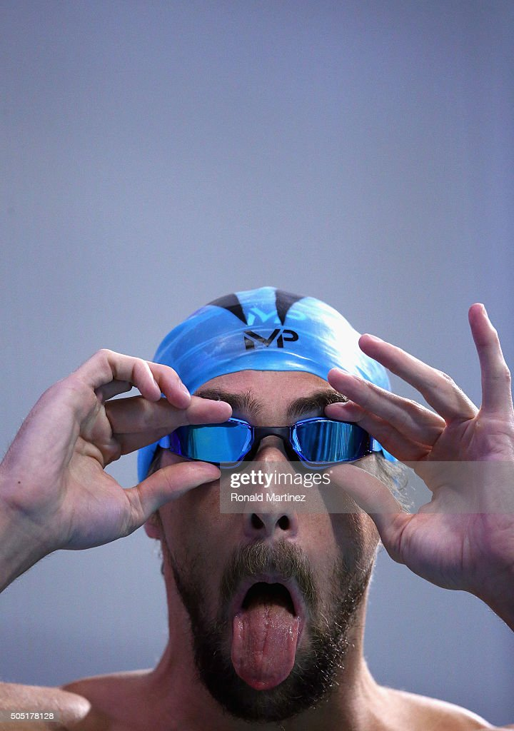 <a gi-track='captionPersonalityLinkClicked' href=/galleries/search?phrase=Michael+Phelps&family=editorial&specificpeople=162698 ng-click='$event.stopPropagation()'>Michael Phelps</a> adjusts his googles before competing in the Men's 100 meter butterfly final during the Arena Pro Swim Series at Austin on January 15, 2016 in Austin, Texas.