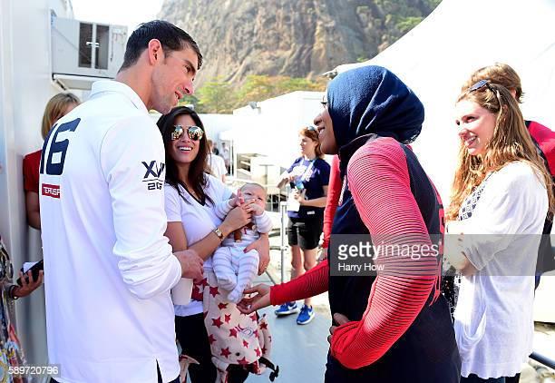 Michael Phelps and Ibtihaj Muhammad speak on the Today show set on Copacabana Beach on August 15 2016 in Rio de Janeiro Brazil