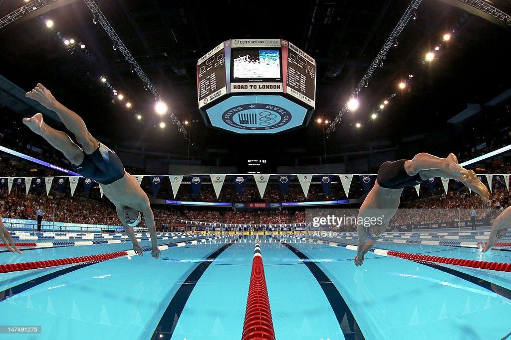 <a gi-track='captionPersonalityLinkClicked' href=/galleries/search?phrase=Michael+Phelps&family=editorial&specificpeople=162698 ng-click='$event.stopPropagation()'>Michael Phelps</a> and <a gi-track='captionPersonalityLinkClicked' href=/galleries/search?phrase=Ryan+Lochte&family=editorial&specificpeople=182557 ng-click='$event.stopPropagation()'>Ryan Lochte</a> dive of the starting block at the start of the championship final of the Men's 200 m Individual Medley during Day Six of the 2012 U.S. Olympic Swimming Team Trials at CenturyLink Center on June 30, 2012 in Omaha, Nebraska.