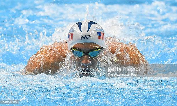 Michael Phelps churns up the water as he competes in the 200m butterfly prelim during US Olympic swim trials on June 28 2016 in Omaha NE