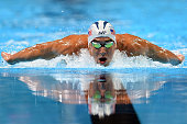 Michael Phelps competes in a semifinal heat of the Men's 200 Meter Butterfly during Day 3 of the 2016 US Olympic Team Swimming Trials at CenturyLink...