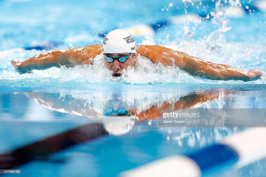 <a gi-track='captionPersonalityLinkClicked' href=/galleries/search?phrase=Michael+Phelps&family=editorial&specificpeople=162698 ng-click='$event.stopPropagation()'>Michael Phelps</a> competes in the championship final of the Men's 200 m Individual Medley during Day Six of the 2012 U.S. Olympic Swimming Team Trials at CenturyLink Center on June 30, 2012 in Omaha, Nebraska.