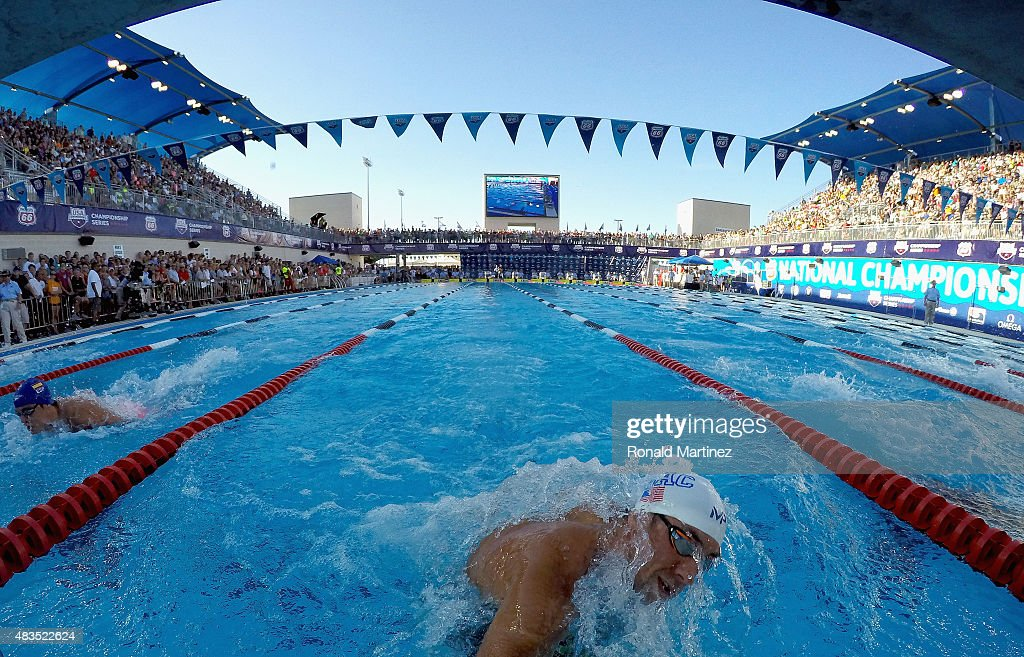 Michael Phelps competes in the Men's 200 Meter IM final during the 2015 Phillips 66 National Championships at the Northside Swim Center on August 9...