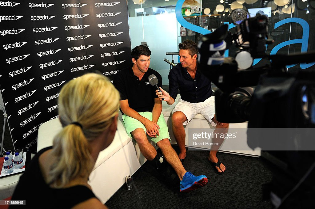 <a gi-track='captionPersonalityLinkClicked' href=/galleries/search?phrase=Michael+Phelps&family=editorial&specificpeople=162698 ng-click='$event.stopPropagation()'>Michael Phelps</a> during an interview as part of a Speedo Clinic at Holmes Palace on July 29, 2013 in Barcelona, Spain.