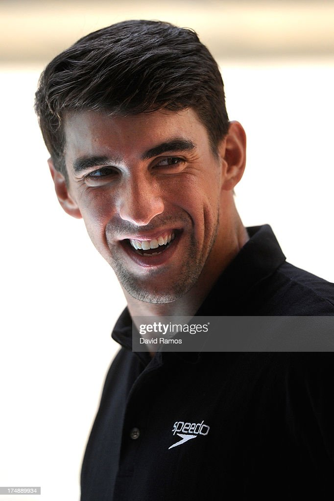 Michael Phelps looks on during a Speedo Clinic at Holmes Palace on July 29, 2013 in Barcelona, Spain.