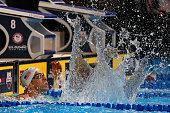 Michael Phelps of the United States celebrates after finishing first in the final heat for the Men's 100 Meter Butterfly during Day Seven of the 2016...