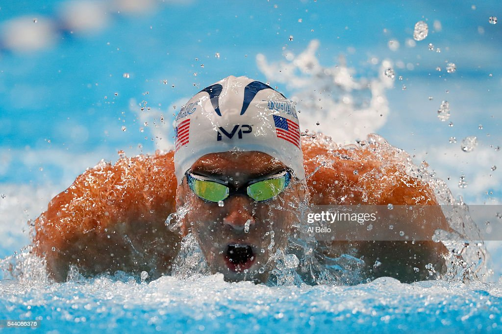 Michael Phelps of the United States competes in a heat for the Men's 100 Meter Butterfly during Day Six of the 2016 U.S. Olympic Team Swimming Trials at CenturyLink Center on July 1, 2016 in Omaha, Nebraska.