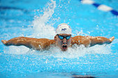 Michael Phelps of the United States competes in a preliminary heat of the Men's 200 Meter Butterfly during Day 3 of the 2016 US Olympic Team Swimming...