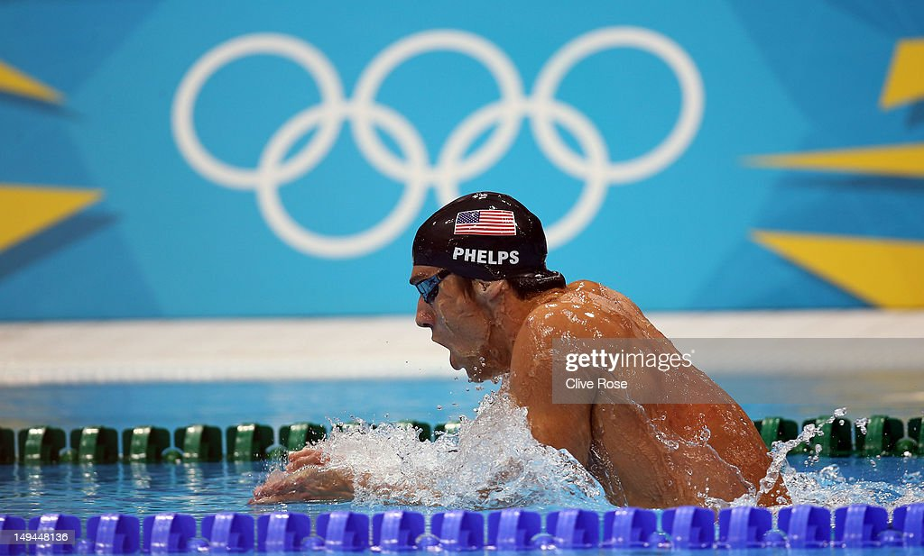<a gi-track='captionPersonalityLinkClicked' href=/galleries/search?phrase=Michael+Phelps&family=editorial&specificpeople=162698 ng-click='$event.stopPropagation()'>Michael Phelps</a> of the United States competes in the Final of the Men's 400m Individual Medley on Day One of the London 2012 Olympic Games at the Aquatics Centre on July 28, 2012 in London, England.