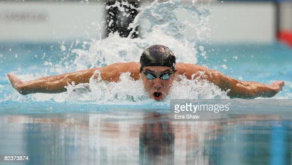 Michael Phelps of the United States competes in the Men's 100m Butterfly Final held at the National Aquatics Centre during Day 8 of the Beijing 2008...