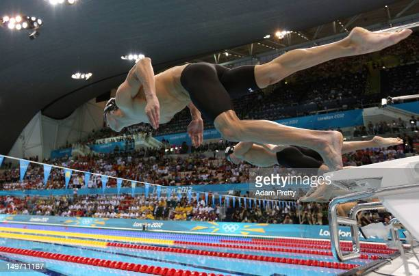 Michael Phelps of the United States competes in the Men's 200m Individual Medley final on Day 6 of the London 2012 Olympic Games at the Aquatics...