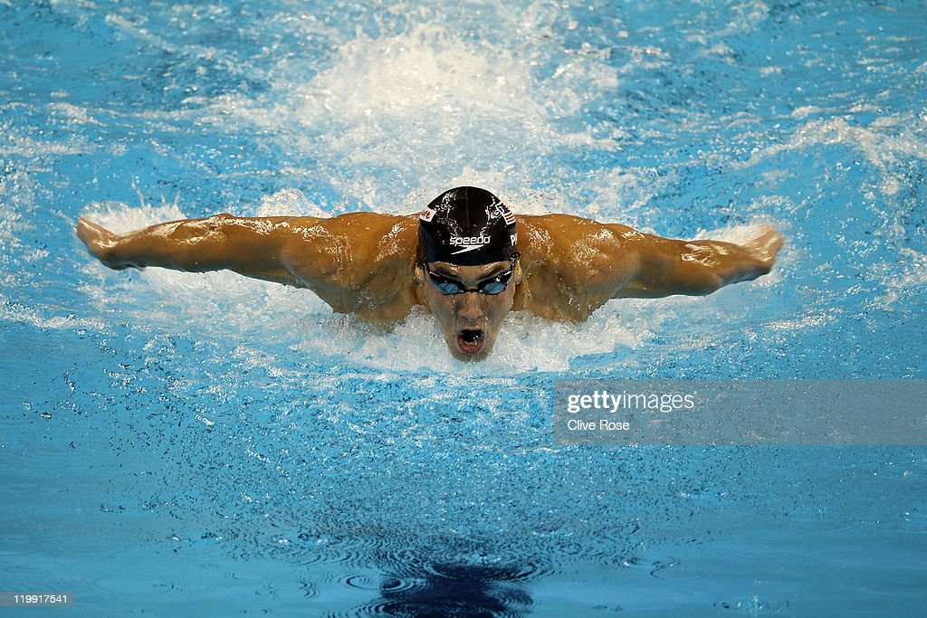 <a gi-track='captionPersonalityLinkClicked' href=/galleries/search?phrase=Michael+Phelps&family=editorial&specificpeople=162698 ng-click='$event.stopPropagation()'>Michael Phelps</a> of the United States competes on the way to winning the gold medal in the Men's 200m Butterfly Final during Day Twelve of the 14th FINA World Championships at the Oriental Sports Center on July 27, 2011 in Shanghai, China.