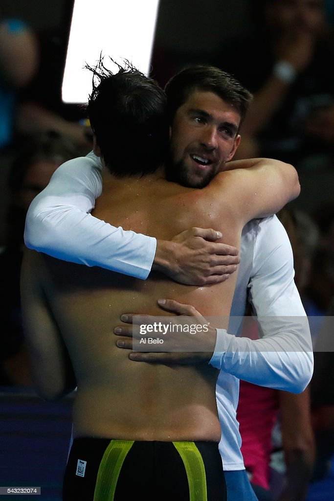Michael Phelps of the United States congratulates Chase Kalisz of the United States after winning the final heat for the Men's 400 Meter Individual...