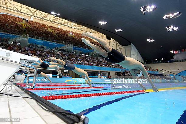 michael phelps of the united states dives off the starting blocks in the mens 100m butterfly - Olympic Swimming Starting Blocks