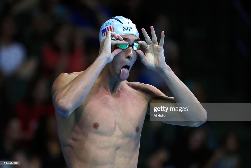 <a gi-track='captionPersonalityLinkClicked' href=/galleries/search?phrase=Michael+Phelps&family=editorial&specificpeople=162698 ng-click='$event.stopPropagation()'>Michael Phelps</a> of the United States prepares to compete in a heat for the Men's 200 Meter Individual Medley during Day Five of the 2016 U.S. Olympic Team Swimming Trials at CenturyLink Center on June 30, 2016 in Omaha, Nebraska.