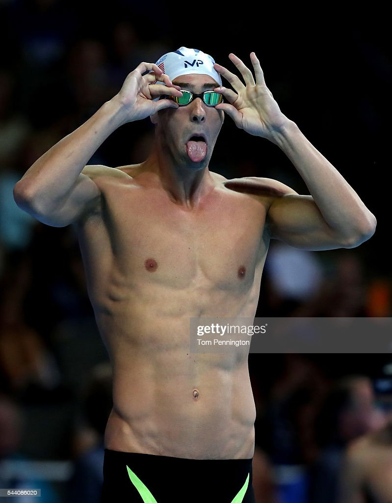 Michael Phelps of the United States prepares to compete in a heat for the Men's 100 Meter Butterfly during Day Six of the 2016 U.S. Olympic Team Swimming Trials at CenturyLink Center on July 1, 2016 in Omaha, Nebraska.