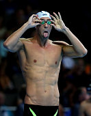 Michael Phelps of the United States prepares to compete in a heat for the Men's 100 Meter Butterfly during Day Six of the 2016 US Olympic Team...