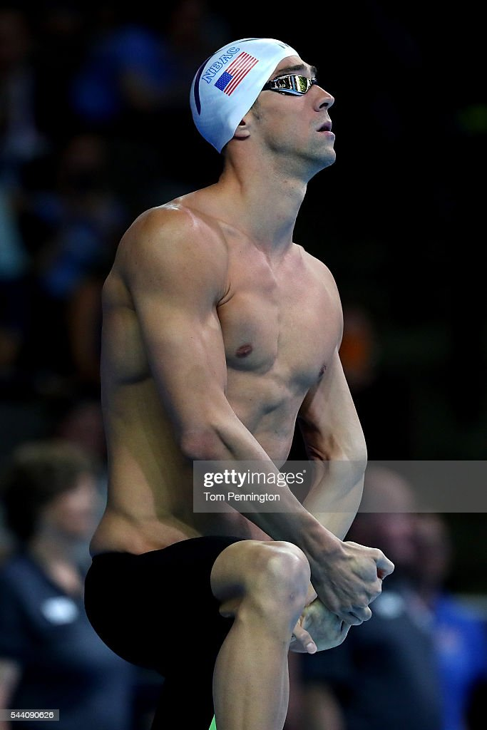 <a gi-track='captionPersonalityLinkClicked' href=/galleries/search?phrase=Michael+Phelps&family=editorial&specificpeople=162698 ng-click='$event.stopPropagation()'>Michael Phelps</a> of the United States prepares to compete in a heat for the Men's 100 Meter Butterfly during Day Six of the 2016 U.S. Olympic Team Swimming Trials at CenturyLink Center on July 1, 2016 in Omaha, Nebraska.