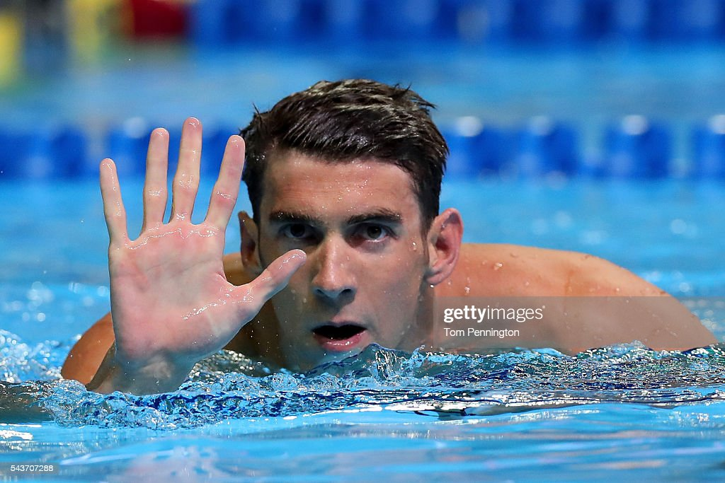 <a gi-track='captionPersonalityLinkClicked' href=/galleries/search?phrase=Michael+Phelps&family=editorial&specificpeople=162698 ng-click='$event.stopPropagation()'>Michael Phelps</a> of the United States reacts after winning the final heat for the Men's 200 Meter Butterfly during Day Four of the 2016 U.S. Olympic Team Swimming Trials at CenturyLink Center on June 29, 2016 in Omaha, Nebraska.
