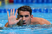 Michael Phelps of the United States reacts after winning the final heat for the Men's 200 Meter Butterfly during Day Four of the 2016 US Olympic Team...