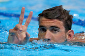 Michael Phelps of the United States reats after competing in a semifinal heat for the Men's 200 Meter Individual Medley during Day Five of the 2016...