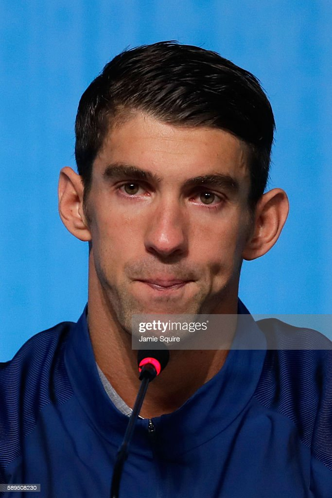 Michael Phelps of the United States speaks during a press conference at the Main Press Centre on August 14 2016 in Rio de Janeiro Brazil