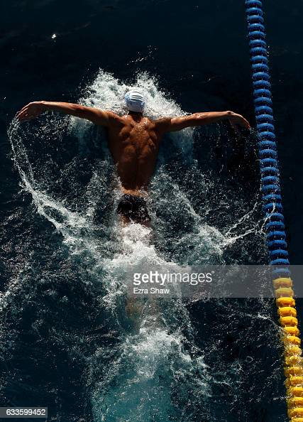 Michael Phelps of the USA practices the butterfly before day 2 of the Santa Clara International Grand Prix at George F Haines International Swim...