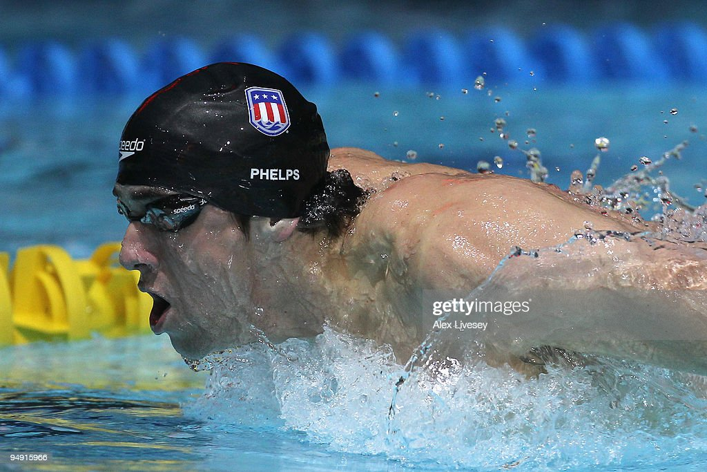 Michael Phelps of USA competes in the Men's 200m Butterfly during day two of the Duel in the Pool between the United States and the E-Stars, a European team, at The Manchester Aquatics Centre on December 19, 2009 in Manchester, England.