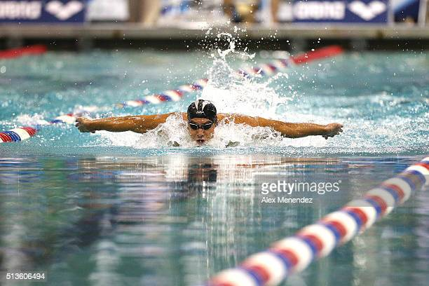 Michael Phelps participates in his final heat of the Men 100 LC Meter Butterfly during day one of the Arena Pro Swim Series at the YMCA of Central...