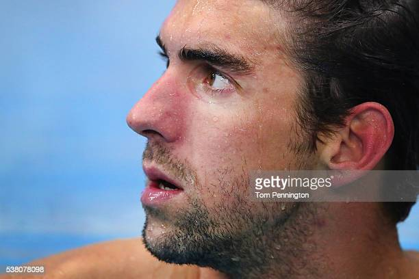Michael Phelps prepares to swim in the Men's 200 meter freestyle heat race during the 2016 Austin Elite Invite on June 4 2016 in Austin Texas