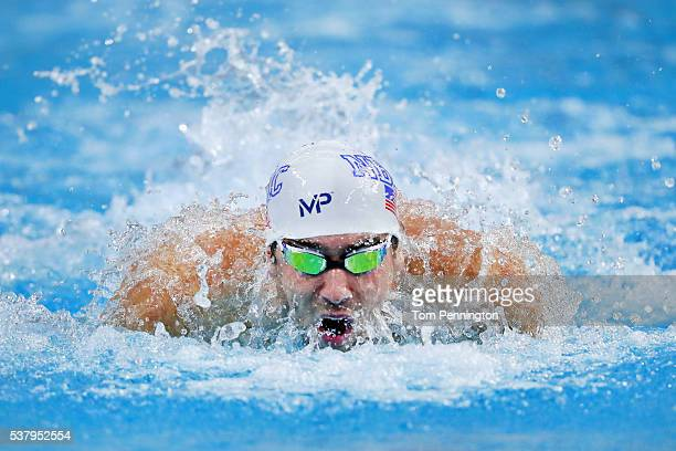 Michael Phelps swims in the Men's 100 meter butterfly final during the Longhorn Aquatics Elite Invite on June 3 2016 in Austin Texas