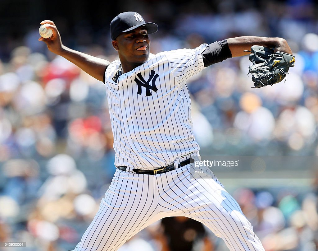<a gi-track='captionPersonalityLinkClicked' href=/galleries/search?phrase=Michael+Pineda&family=editorial&specificpeople=7509057 ng-click='$event.stopPropagation()'>Michael Pineda</a> #35 of the New York Yankees delivers a pitch in the first inning against the Texas Rangers at Yankee Stadium on June 30, 2016 in the Bronx borough of New York City.