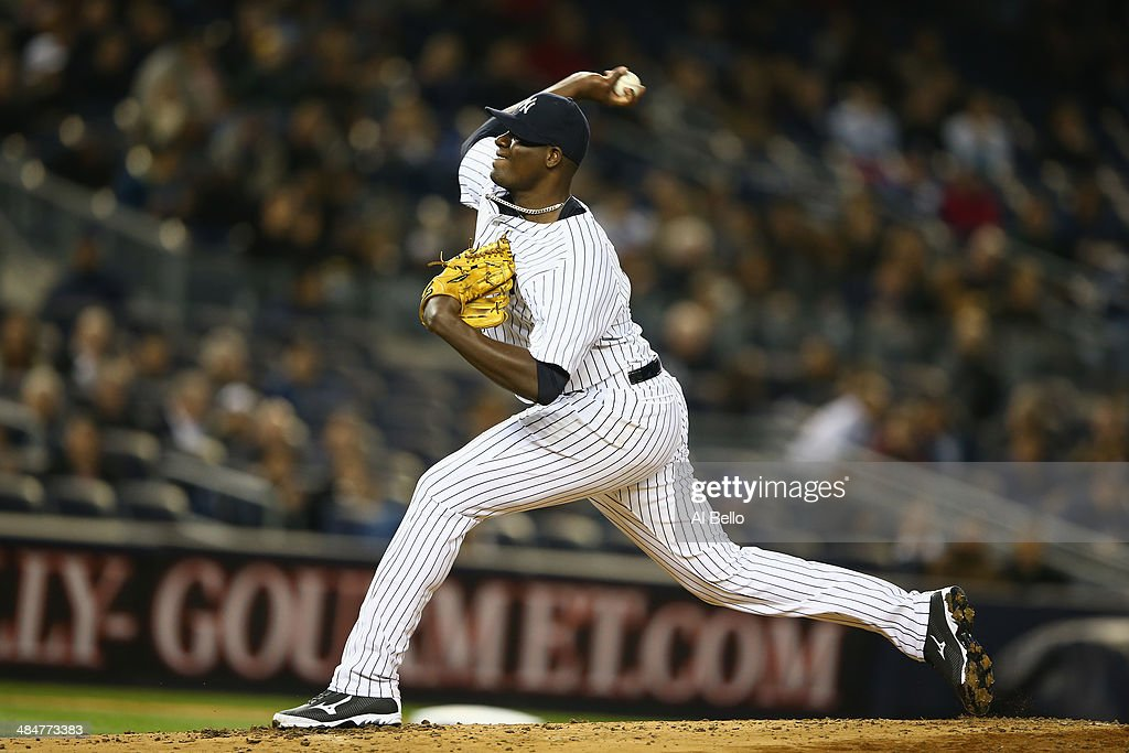 Michael Pineda #35 of the New York Yankees pitches against the Boston Red Sox during their game at Yankee Stadium on April 10, 2014 in the Bronx borough of New York City.