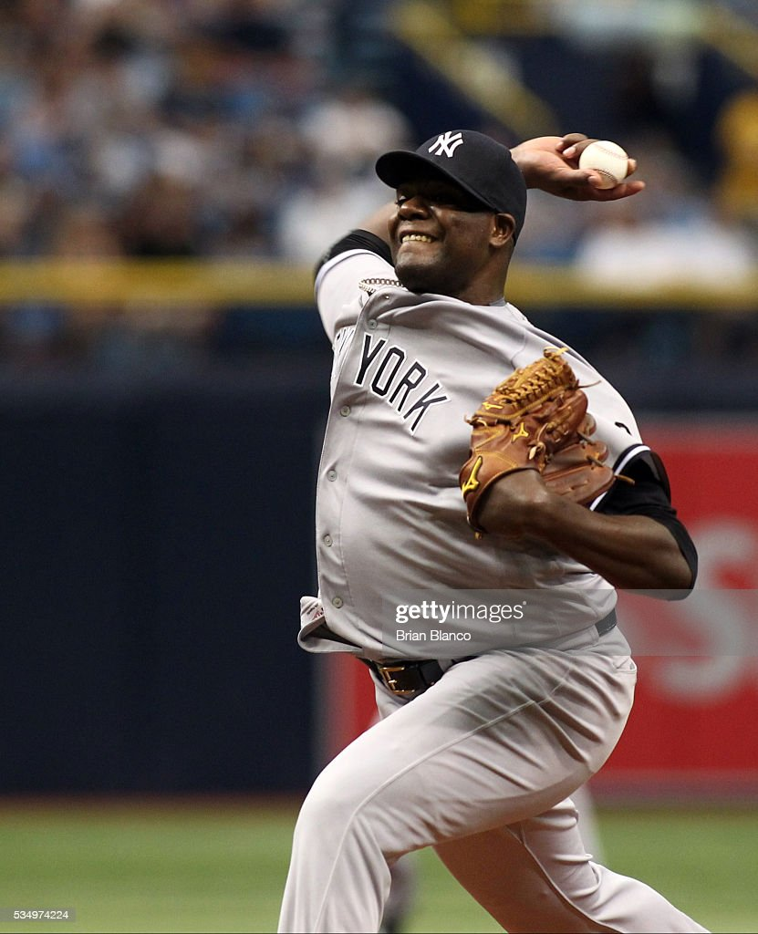 Michael Pineda #35 of the New York Yankees pitches during the first inning of a game against the Tampa Bay Rays on May 28, 2016 at Tropicana Field in St. Petersburg, Florida.