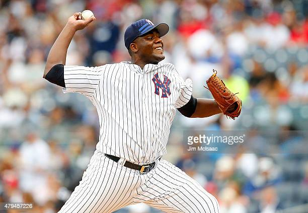 Michael Pineda of the New York Yankees pitches in the first inning against the Tampa Bay Rays at Yankee Stadium on July 4 2015 in the Bronx borough...