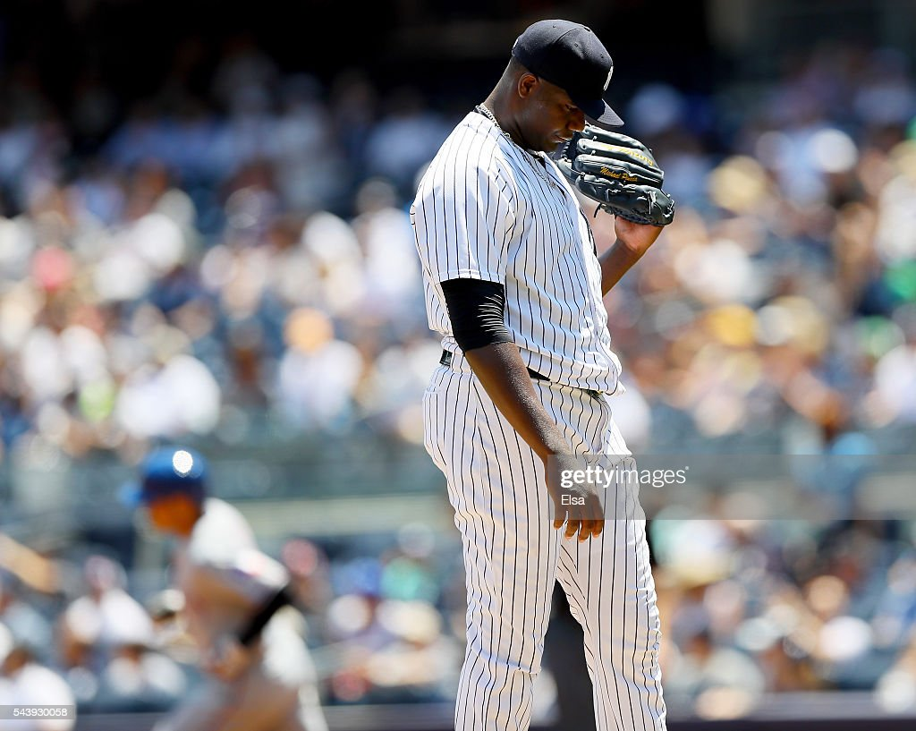 <a gi-track='captionPersonalityLinkClicked' href=/galleries/search?phrase=Michael+Pineda&family=editorial&specificpeople=7509057 ng-click='$event.stopPropagation()'>Michael Pineda</a> #35 of the New York Yankees reacts after giving up a solo home run to <a gi-track='captionPersonalityLinkClicked' href=/galleries/search?phrase=Shin-Soo+Choo&family=editorial&specificpeople=196543 ng-click='$event.stopPropagation()'>Shin-Soo Choo</a> of the Texas Rangers in the first inning at Yankee Stadium on June 30, 2016 in the Bronx borough of New York City.