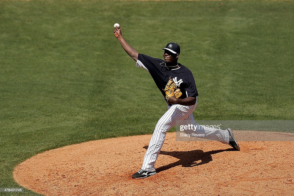 Michael Pineda #35 of the New York Yankees throws a pitch in the fifth inning of a game against the Boston Red Sox at George M. Steinbrenner Field on March 18, 2014 in Tampa, Florida.