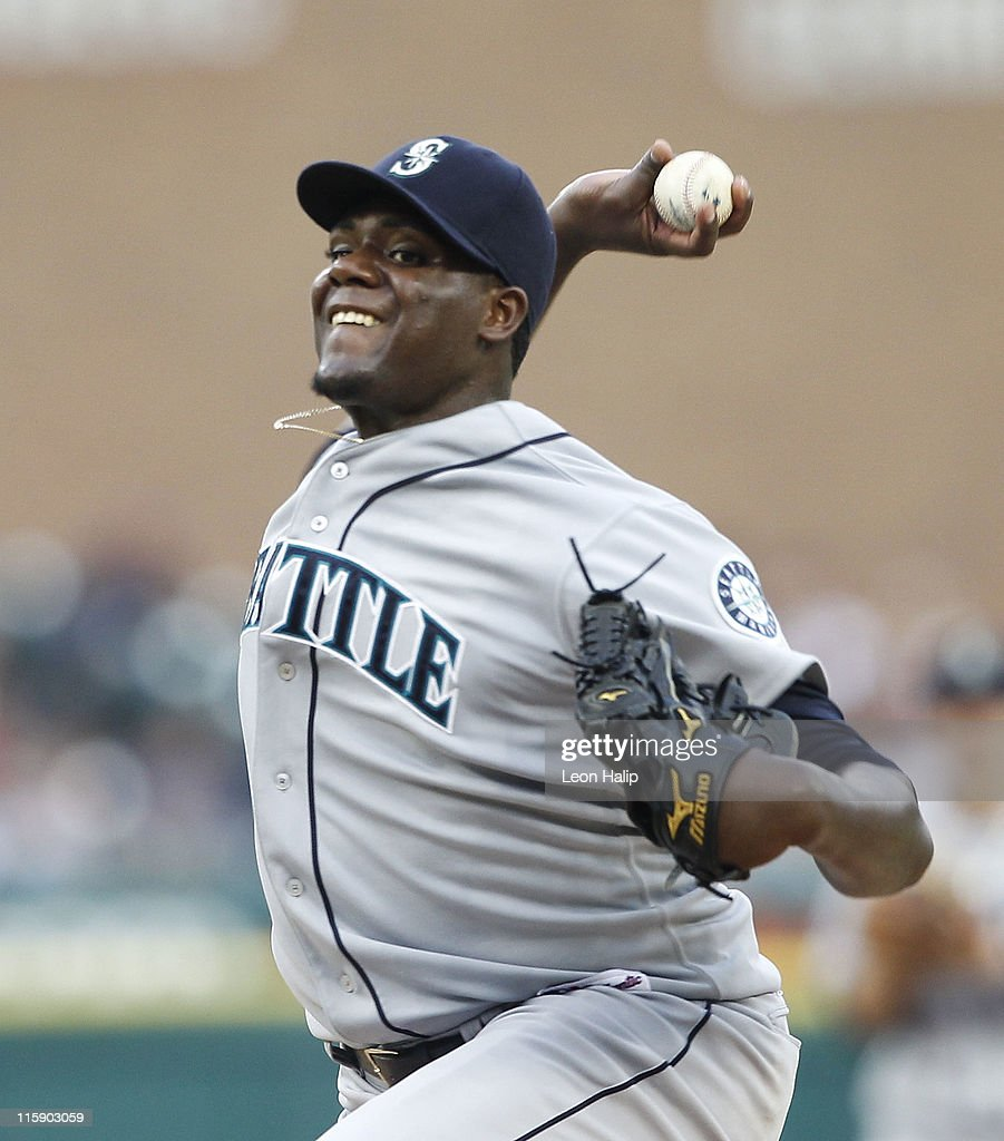 Michael Pineda #36 of the Seattle Mariners pitches in the fifth inning during the game against the Detroit Tigers at Comerica Park on June 11, 2011 in Detroit, Michigan. The Tigers defeated the Mariners 8-1.
