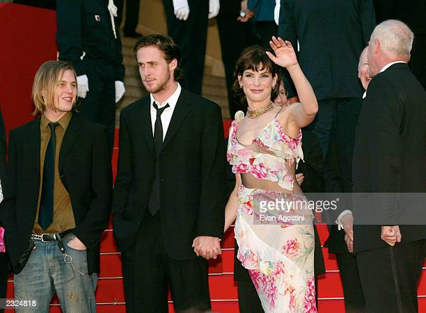 Michael Pitt Ryan Gosling and Sandra Bullock on the steps of the Palais at the 'Murder By Numbers' screening during the 55th Cannes Film Festival in...