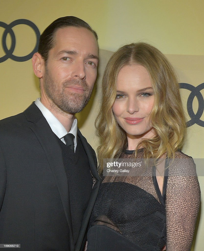 Michael Polish (L) and actress Kate Bosworth attend the Audi Golden Globes Kick Off 2013 at Cecconi's Restaurant on January 6, 2013 in Los Angeles, California.