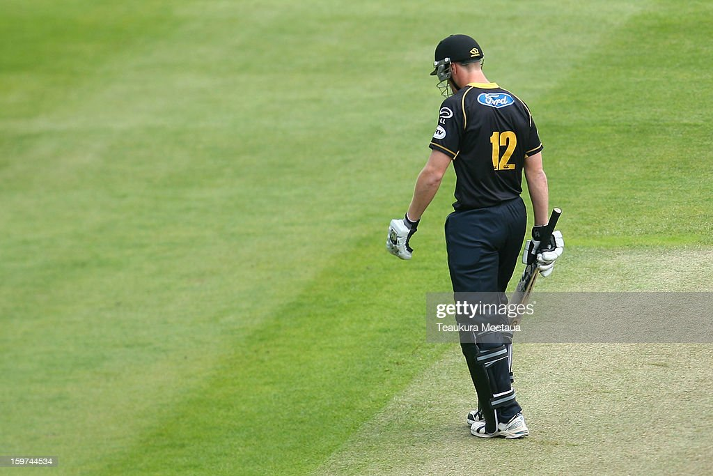 Michael Pollard of Wellington of walks off the field after being dismissed during the HRV T20 Final match between the Otago Volts and the Wellington Firebirds at University Oval on January 20, 2013 in Dunedin, New Zealand.
